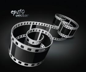 Elements of Realistic 3d film reel design vector set 02