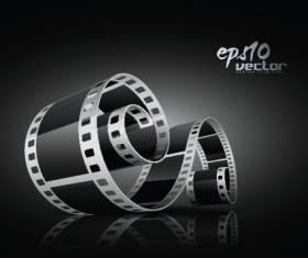Elements of Realistic 3d film reel design vector set 03