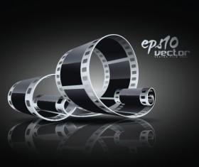 Elements of Realistic 3d film reel design vector set 05