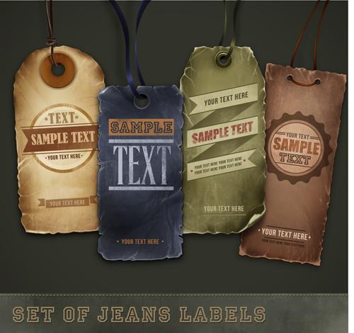 Elements of Retro Jeans Labels vector set 01