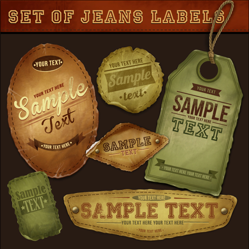 Elements of Retro Jeans Labels vector set 03