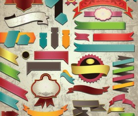 Retro ribbons with labels vector set 01