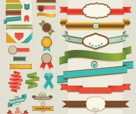 Retro ribbons with labels vector set 03