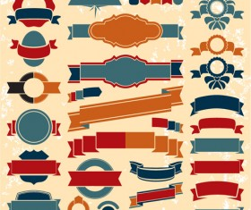 Retro ribbons with labels vector set 04
