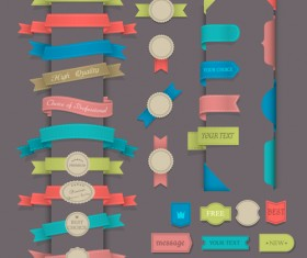 Retro ribbons with labels vector set 05