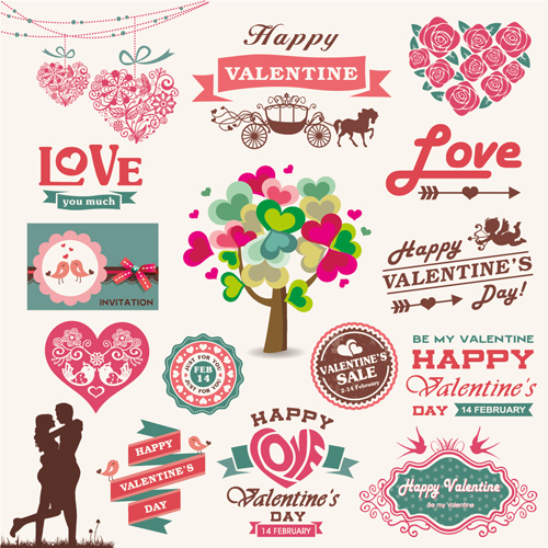 Romantic Valentine retro labels and decor vector 02