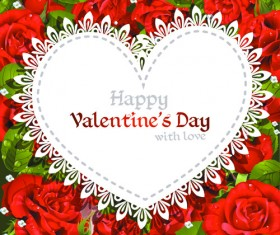 Roses with Valentine Day Cards vector graphics 02