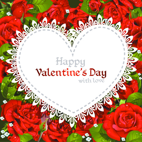 Roses with Valentine Day Cards vector graphics 02 - Vector Card ...