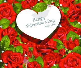 Roses with Valentine Day Cards vector graphics 03