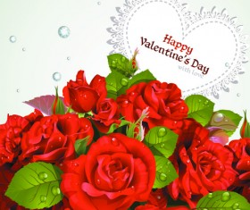 Roses with Valentine Day Cards vector graphics 04