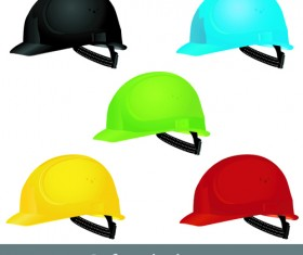 Different colored Safety helmet elements vector 01