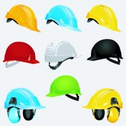 Link toDifferent colored safety helmet elements vector 02