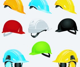 Different colored Safety helmet elements vector 02