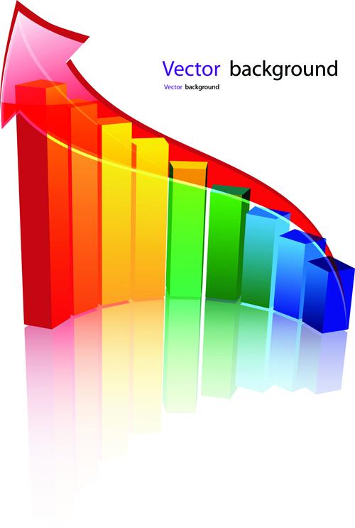 Set of Schedule Growth arrow backgrounds vector 04