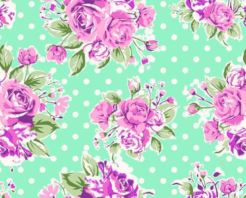 Seamless flowers pattern vector 01
