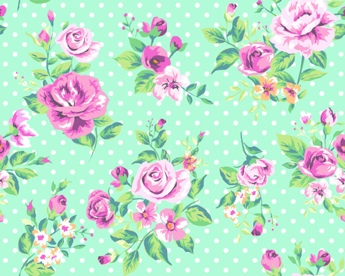 Seamless flowers pattern vector 03Vintage Flower Patterns