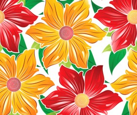 Vector set of Spring flowers pattern 02