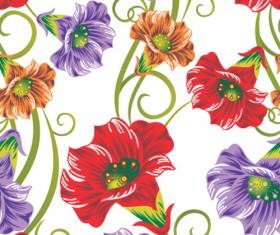 Vector set of Spring flowers pattern 05