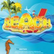 Link toSummer beach elements vector backgrounds art 01