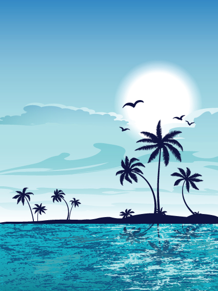Summer beach elements vector backgrounds art 04