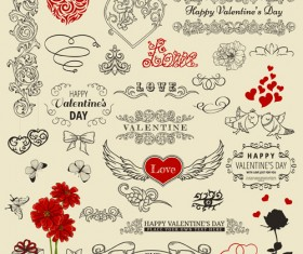 Valentine vintage ornaments design elements vector 01