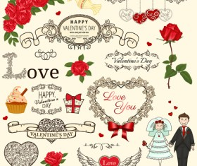 Valentine vintage ornaments design elements vector 02