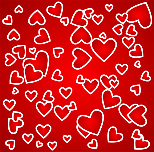 Romantic heart Valentine background free vector 05