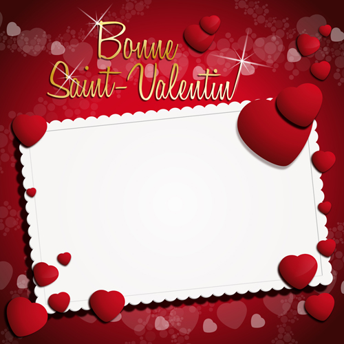 Ornate Valentine Day Art Card Vector 01
