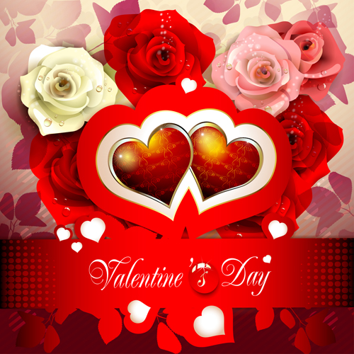 Sweet Valentine Day Card Design Vector 02 Free Download