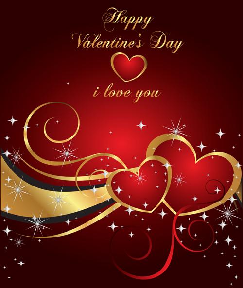 shiny valentine hearts vector cards 05