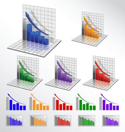 Business 3D graph vector material 01