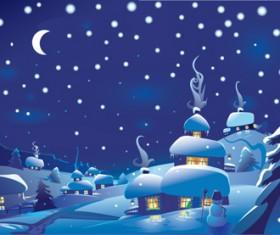 Beautiful Winter landscapes 02 vector