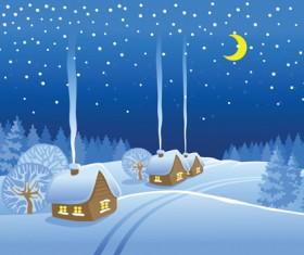 Beautiful Winter landscapes 03 vector