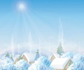 Beautiful Winter landscapes 05 vector