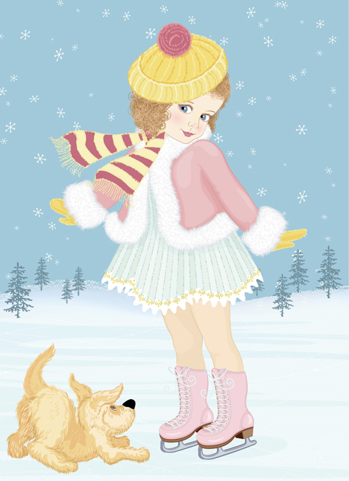 Winter little girl and cute dog design vector 01