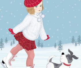 Winter little girl and cute dog design vector 02