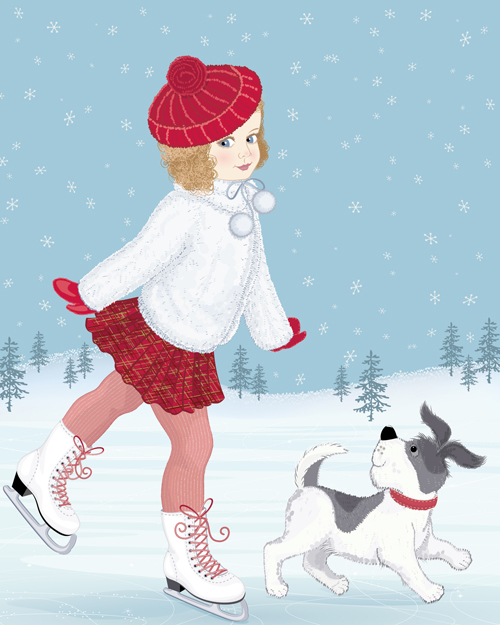 winter little girl and cute dog design vector 02 free download
