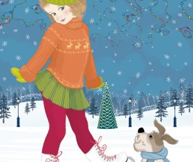 Winter little girl and cute dog design vector 03