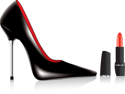 Womens High heeled shoes with Cosmetic vector 04