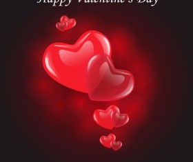 Valentine Day Background with hearts vector 02