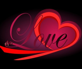 Valentine Day Background with hearts vector 03