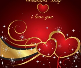 Valentine Day Background with hearts vector 04