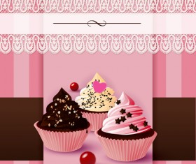 Cute cake cards design elements vector 01