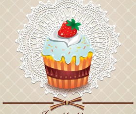 Cute cake cards design elements vector 03