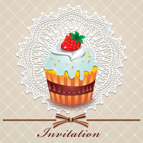 Cute cake cards design elements vector 03 - Vector Card ...