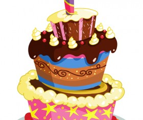 Cute cake cards design elements vector 04
