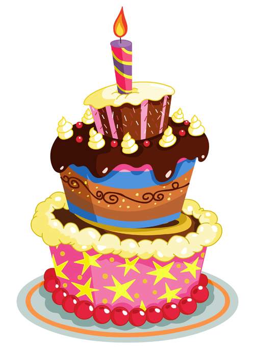 Cake Clip Art Free Download : Cute cake cards design elements vector 04 - Vector Card ...