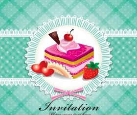 Cute cake cards design elements vector 05