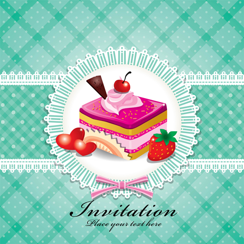 Cake Stencil Designs Free : Cute cake cards design elements vector 05   Over millions ...