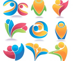 Set of Colored Abstract logo design elements vector 01